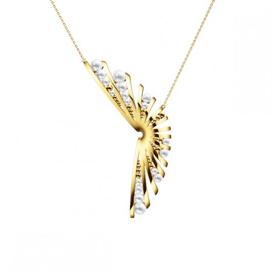 M/G TASAKI GRAIN 珍珠黃K金項鍊,18K黃金、淡水珍珠,NT457,000。