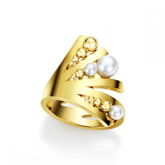 M/G TASAKI GRAIN 珍珠黃K金戒指,18K黃金、淡水珍珠,NT131,000。