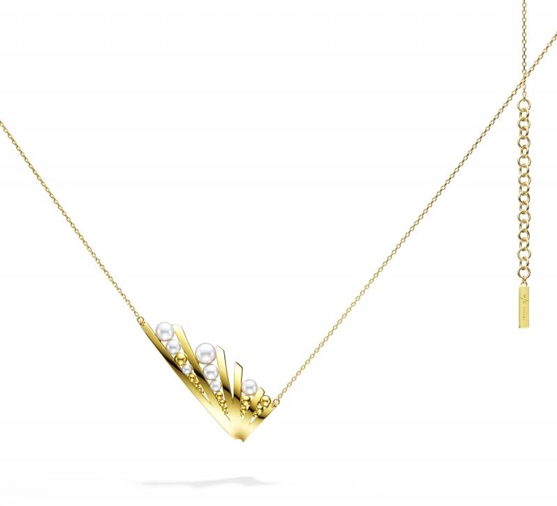 M/G TASAKI GRAIN 珍珠黃K金項鍊,18K黃金、淡水珍珠,NT185,000。