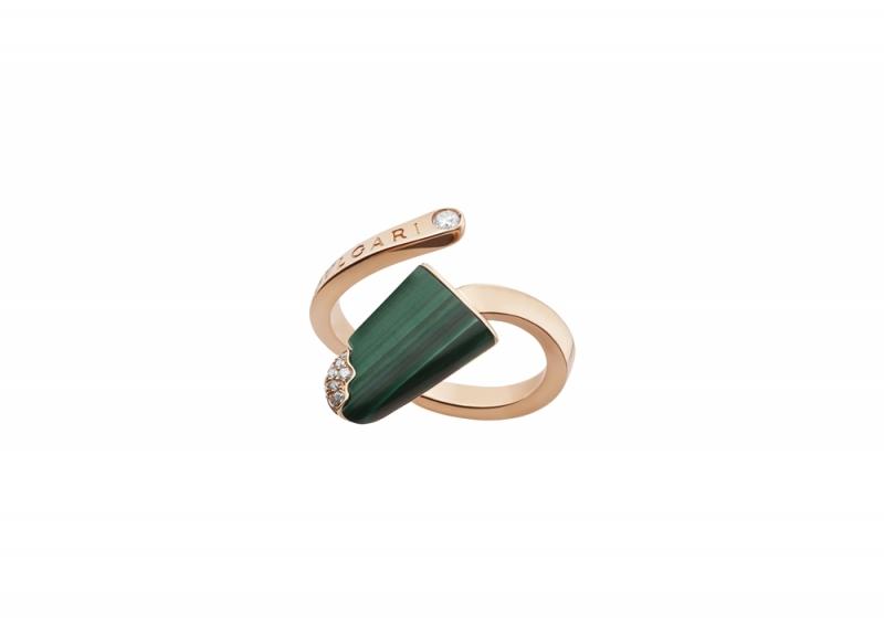 BVLGARI BVLGARI Gelati系列孔雀石及鑽石玫瑰金戒指_參考價格約 TWD 73,700元