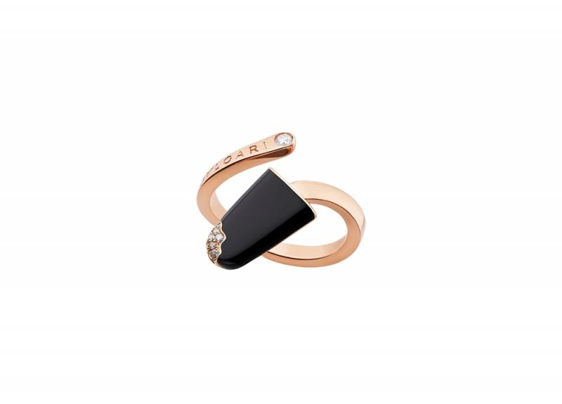 BVLGARI BVLGARI Gelati系列黑縞瑪瑙及鑽石玫瑰金戒指_參考價格約 TWD 68,000元