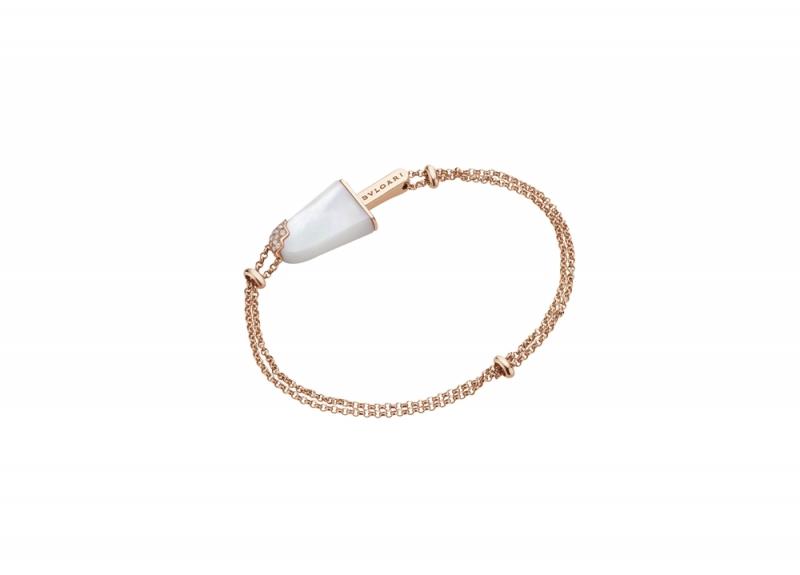 BVLGARI BVLGARI Gelati系列珍珠母貝及鑽石玫瑰金手鍊_參考價格約 TWD 69,500元