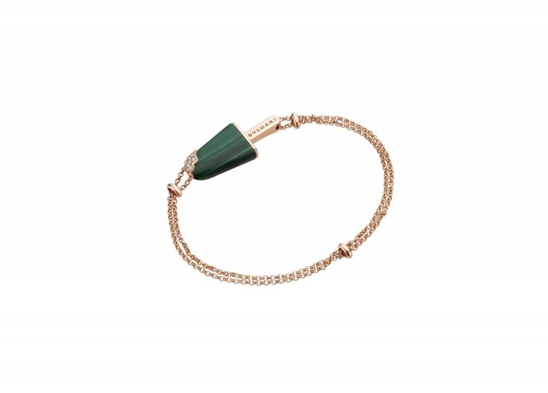 BVLGARI BVLGARI Gelati系列孔雀石及鑽石玫瑰金手鍊_參考價格約 TWD 75,200元