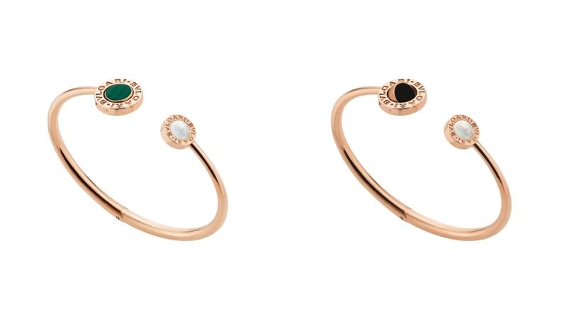 BVLGARI BVLGARI系列珍珠母貝、孔雀石及縞瑪瑙玫瑰金翻轉式手環_參考價格約 TWD 156,500