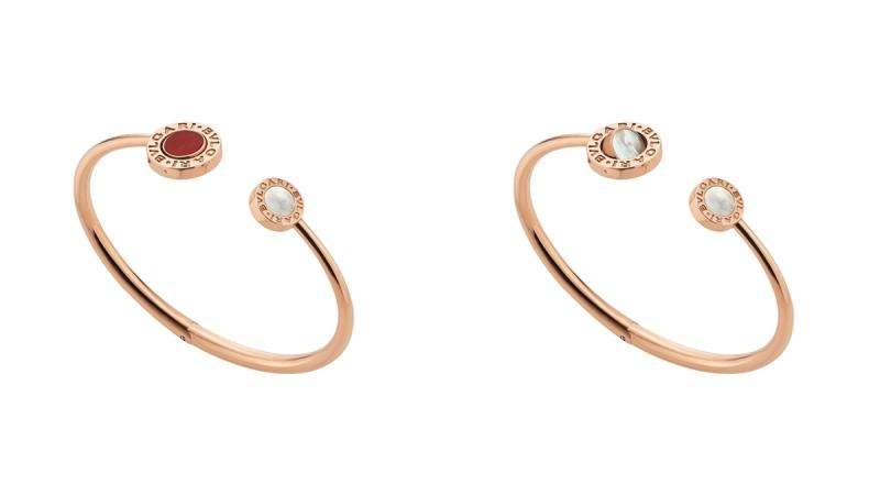 BVLGARI BVLGARI系列珍珠母貝及紅玉隨玫瑰金翻轉式手環_參考價格約 TWD 153,300