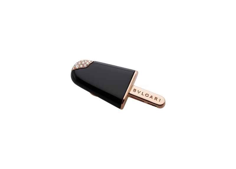 BVLGARI BVLGARI Gelati系列黑縞瑪瑙及鑽石玫瑰金胸針_參考價格約 TWD 123,300元