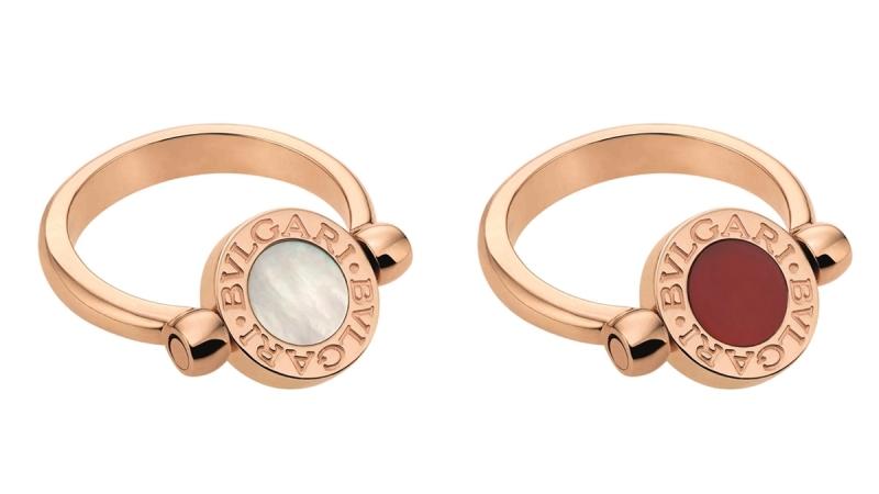 BVLGARI BVLGARI系列珍珠母貝及紅玉隨玫瑰金翻轉式戒指_參考價格約 TWD 70,800