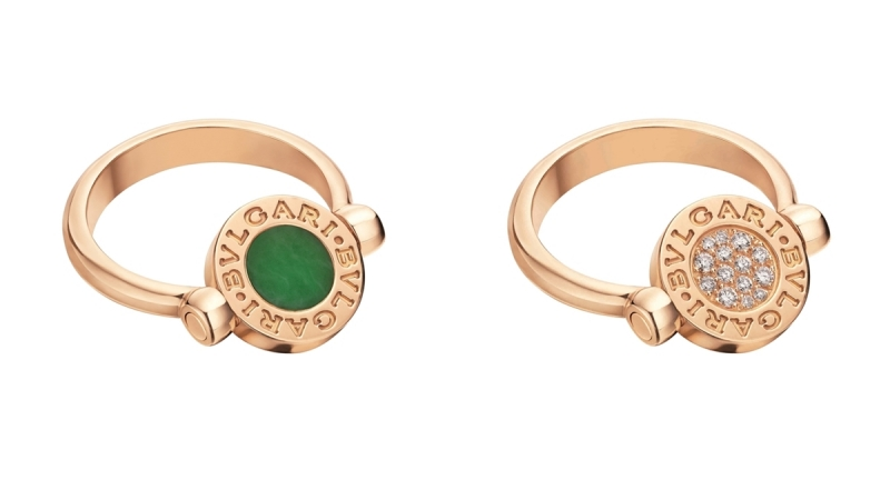 BVLGARI BVLGARI系列孔雀石及鑽石玫瑰金翻轉式戒指_參考價格約 TWD 104,300