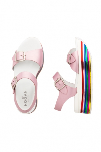 彩虹厚底涼鞋,Hogan。