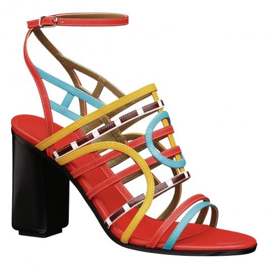 多彩小牛皮粗跟涼鞋,Hermès,NT36,300。