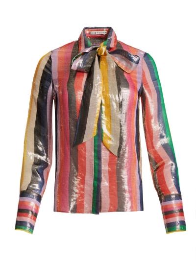 亮面絲綢綁帶襯衫,Alice+Olivia,NT16,500。