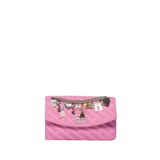 墜飾裝飾皮革手拿包,Balenciaga。