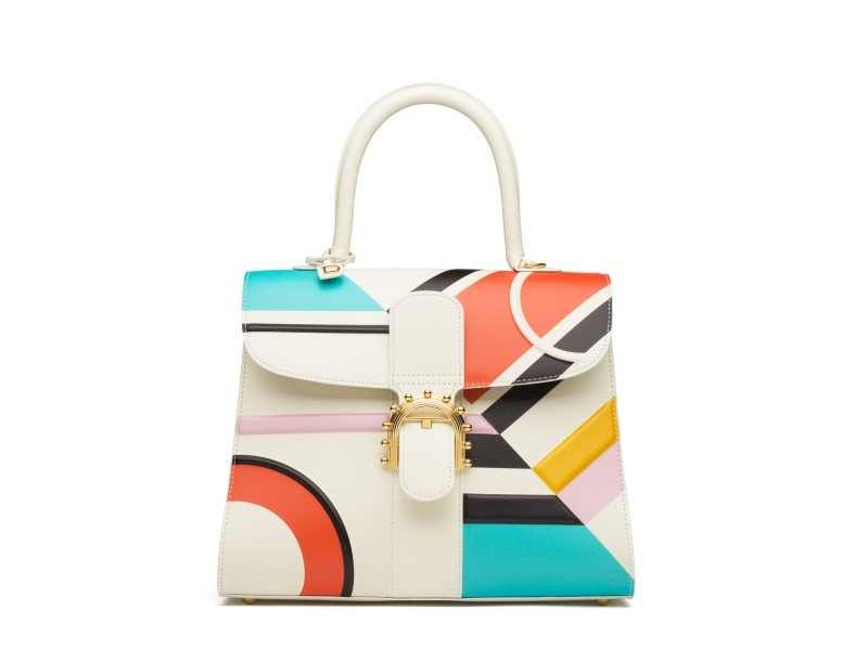 幾何造型皮革扣環手提包,Delvaux。