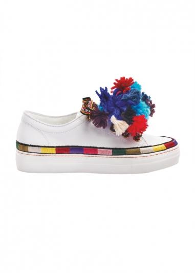 毛線球裝飾厚底鞋,Etro。