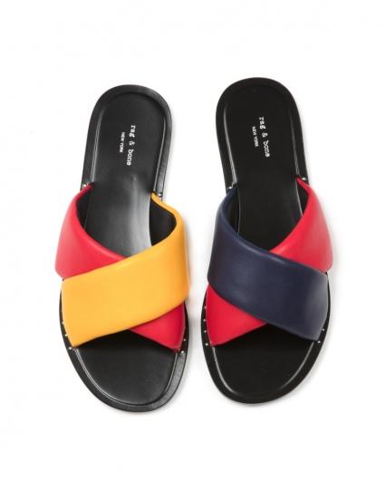 多色交叉寬帶拖鞋,Rag&Bone,NT11,500。