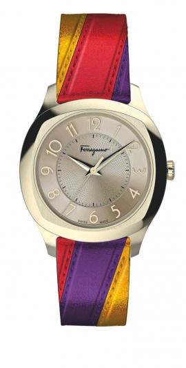 多彩亮皮革腕錶,Salvatore Ferragamo。