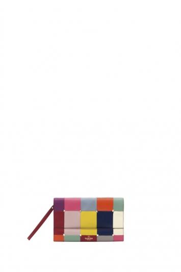 多彩格紋皮革手拿包,Valentino。