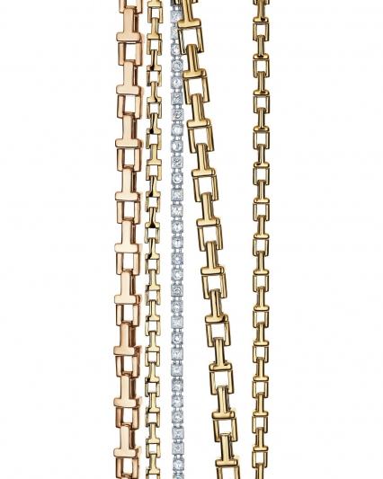 Tiffany T 18K 玫瑰金和18K金鏈結式手鍊與18K 白金鑲鑽手鍊 價格店洽