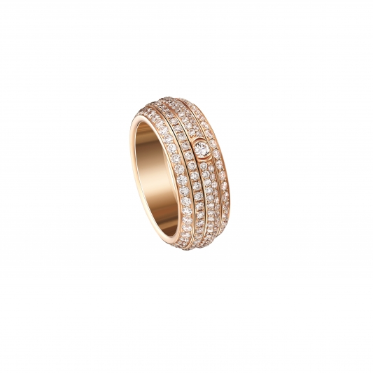 Possession系列指環 18K玫瑰金 鑲嵌234顆圓形美鑽(約2.24克拉) G34P1B00 台幣參考價格 555,000元起