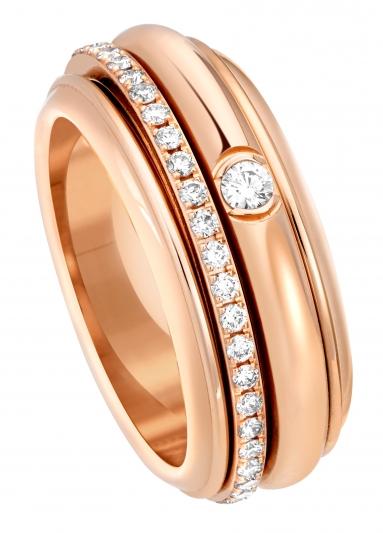 Possession 系列指環 18K玫瑰金 鑲嵌46顆美鑽(約0.45克拉) G34P8A00 台幣參考售價195,000 元