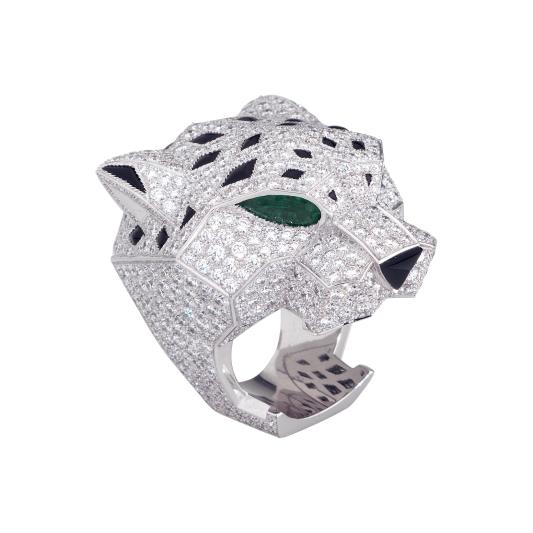 卡地亞美洲豹系列舖鑲鑽豹頭戒指