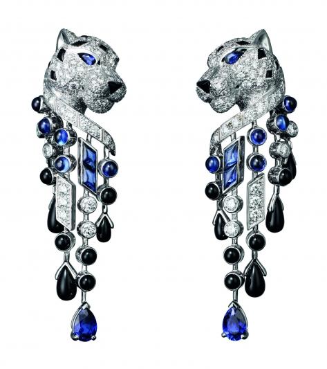 卡地亞美洲豹系列藍寶流蘇耳環