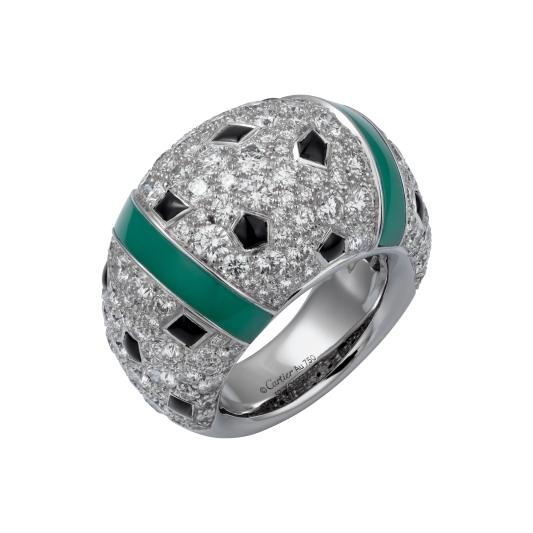 卡地亞美洲豹系列綠玉髓戒指