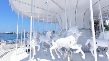 碧海藍天加上這景色太夢幻!高雄棧貳庫「全白色旋轉木馬」,散發滿滿幸福感!
