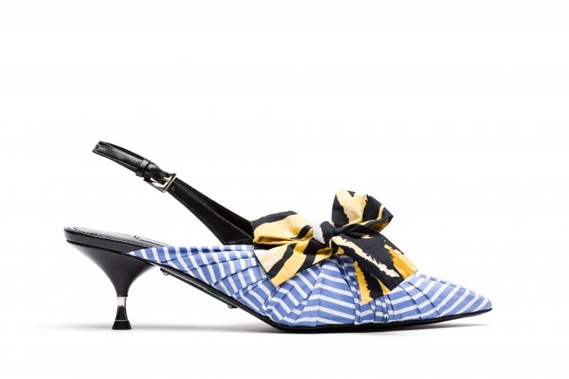 條紋皺褶低跟鞋,Prada,價格電洽。