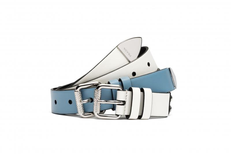 藍白雙色皮帶,Prada,價格電洽。