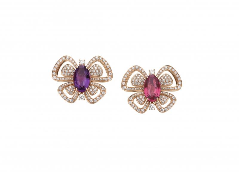 BVLGARI Wild Pop ANDY WARHOL系列 Butterflies頂級碧璽與紫水晶耳環