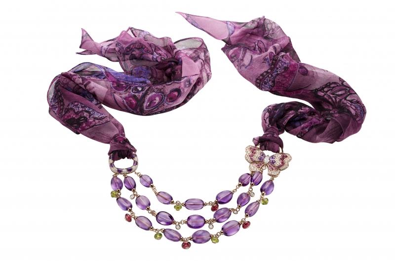 BVLGARI Wild Pop ANDY WARHOL系列 Butterflies 頂級彩寶鑽石項鍊