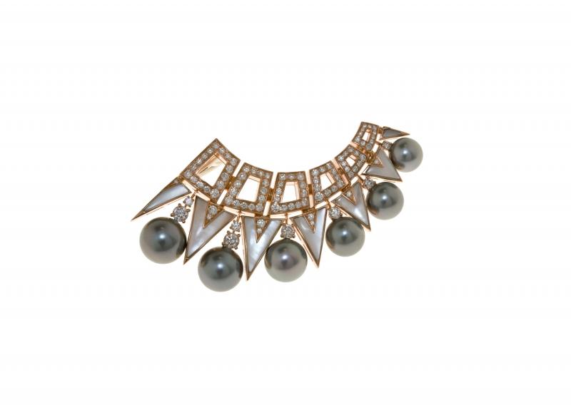 BVLGARI Wild Pop ANDY WARHOL系列 Homage to NY 頂級黑珍珠、珍珠母貝與鑽石胸針