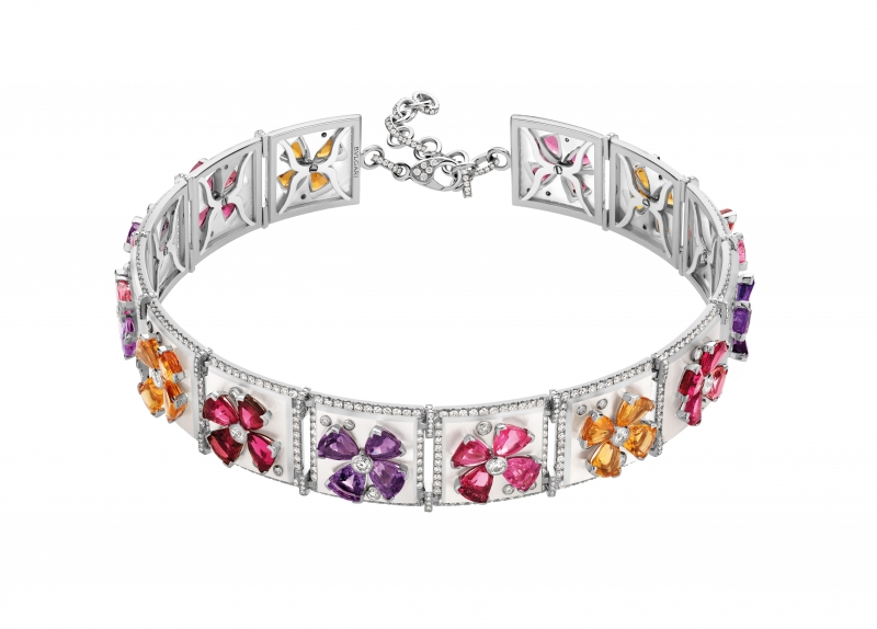 BVLGARI Wild Pop ANDY WARHOL系列 Pop Flowers 頂級紅寶石,珍珠母貝,彩寶與鑽石項鍊