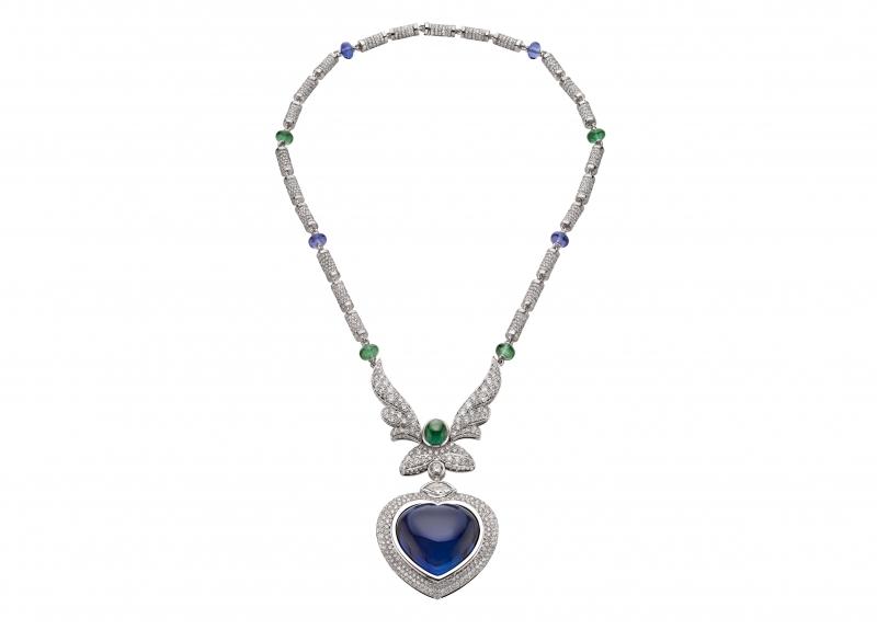 BVLGARI Wild Pop ANDY WARHOL系列 Pop Heart 頂級藍寶石與鑽石項鍊