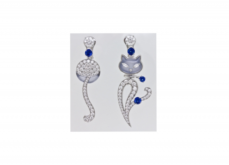 BVLGARI Wild Pop ANDY WARHOL系列 Sam the Cat 頂級藍玉髓與鑽石耳環