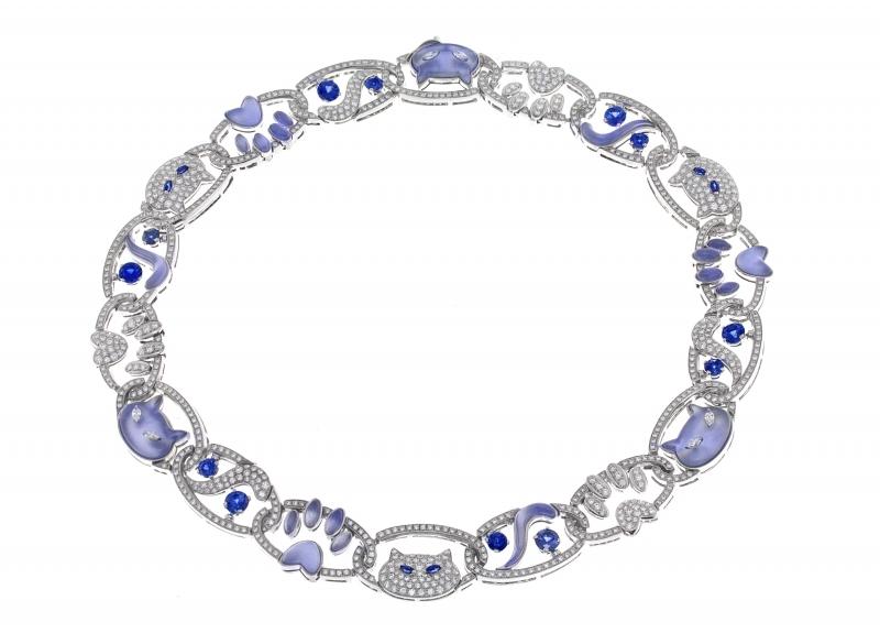 BVLGARI Wild Pop ANDY WARHOL系列 Sam the Cat 頂級藍玉髓與鑽石項鍊