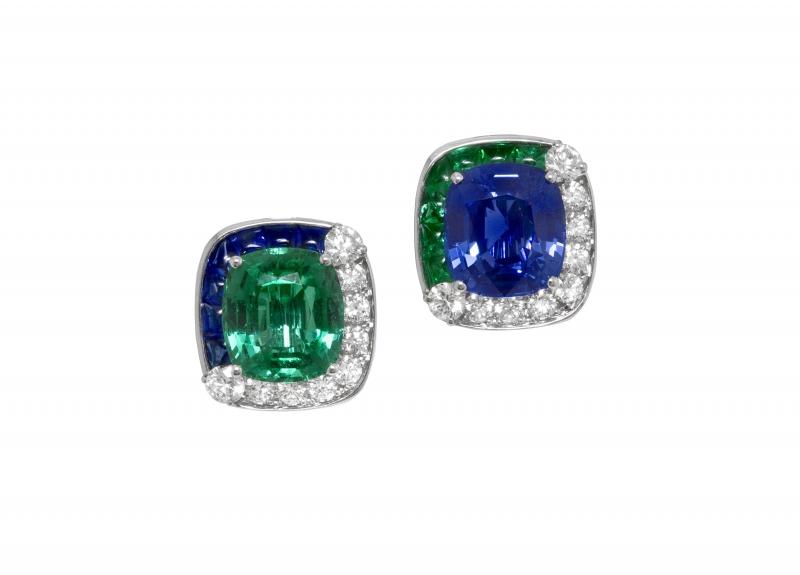 BVLGARI Wild Pop MUSIC系列 Musical Lightening 藍寶石與祖母綠鑽石耳環