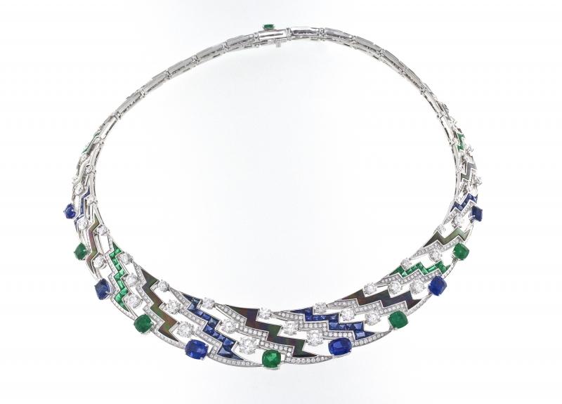 BVLGARI Wild Pop MUSIC系列 Musical Lightenings 頂級藍寶石與祖母綠鑽石項鍊