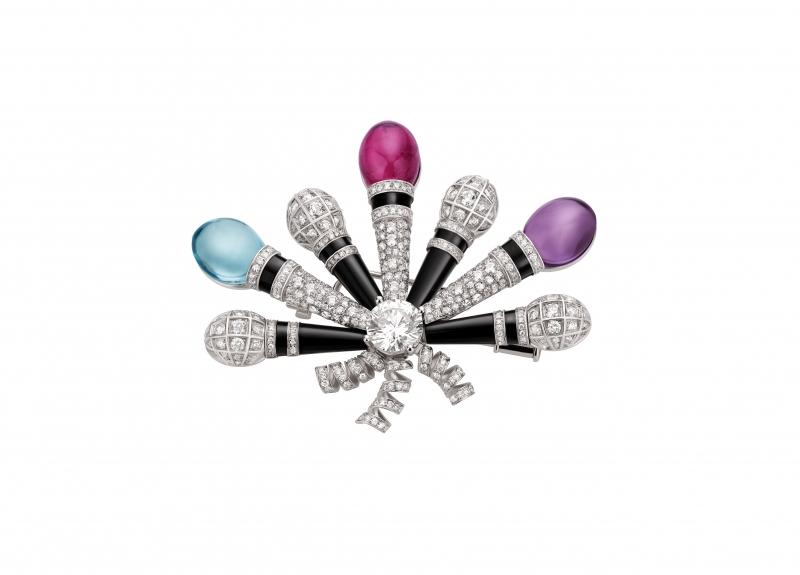 BVLGARI Wild Pop MUSIC系列 Pop Mics 頂級彩寶與鑽石胸針