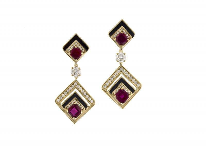 BVLGARI Wild Pop POP 80's系列 Geometries 頂級縞瑪瑙,紅寶石與鑽石耳環