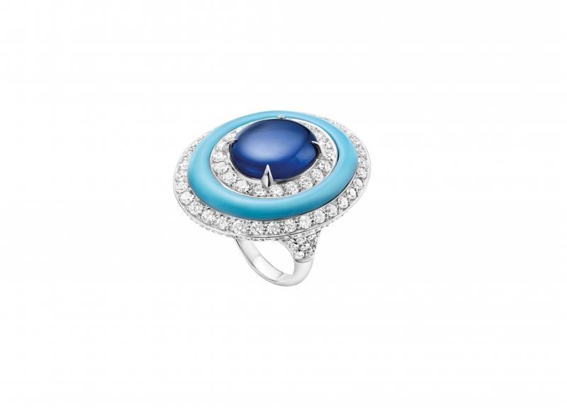 BVLGARI Wild pop POP 80's系列 U.F.J. (Unidentified Flying Jewel) 頂級藍寶石,土耳其石與鑽石戒指