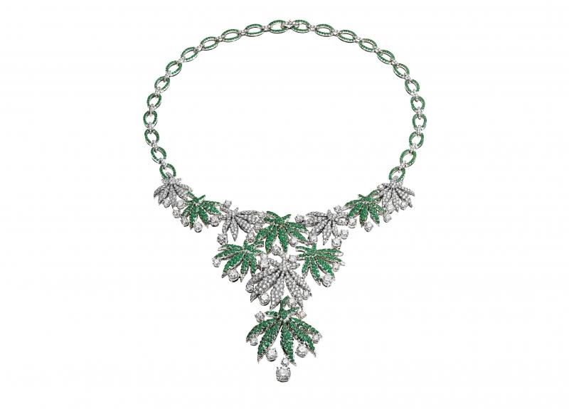 BVLGARI Wild Pop ROARING 80's系列 Happy Leaves 頂級鑽石與祖母綠項鍊