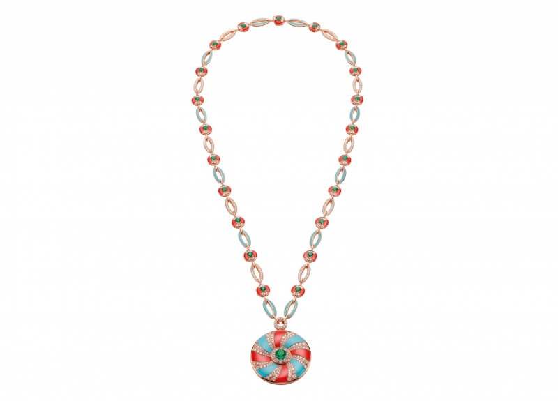 BVLGARI Wild Pop ROARING 80's系列 Logomania 頂級珊瑚,祖母綠與鑽石項鍊