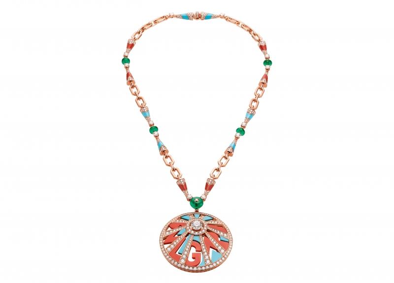 BVLGARI Wild Pop ROARING 80's系列 Logomania 頂級珊瑚,彩寶與鑽石項鍊