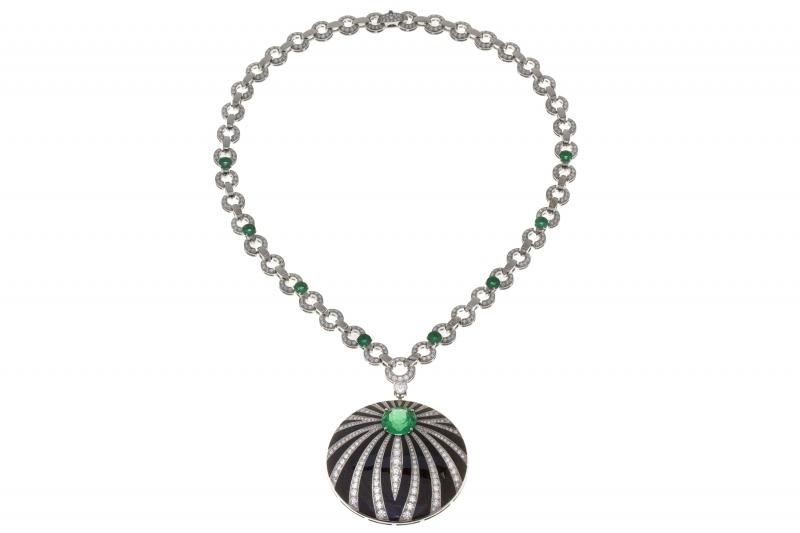 BVLGARI Wild Pop ROARING 80's系列 Pop Pleasts 頂級鑽石、祖母綠與縞瑪瑙項鍊