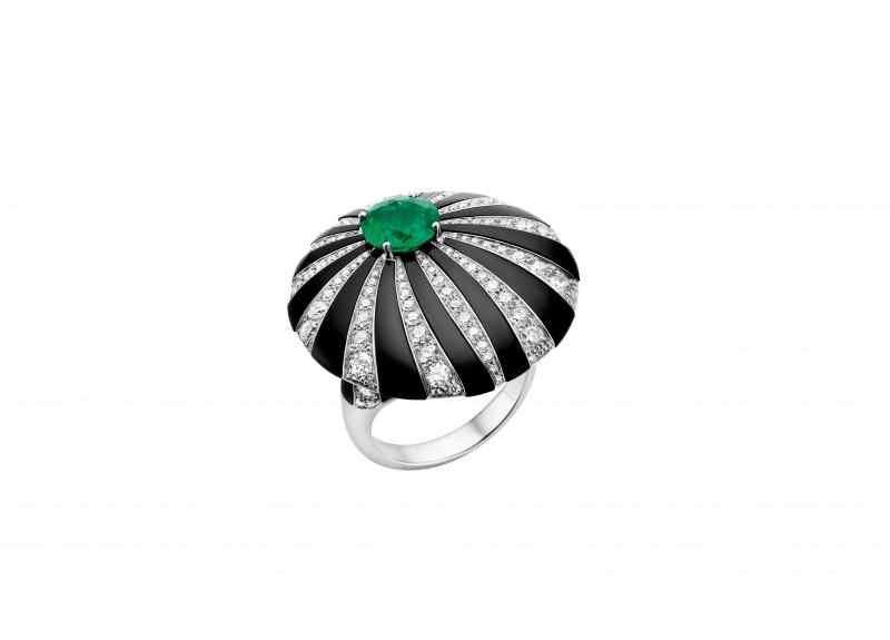 BVLGARI Wild Pop ROARING 80's系列 Pop Pleats 頂級縞瑪瑙與祖母綠及鑽石戒指