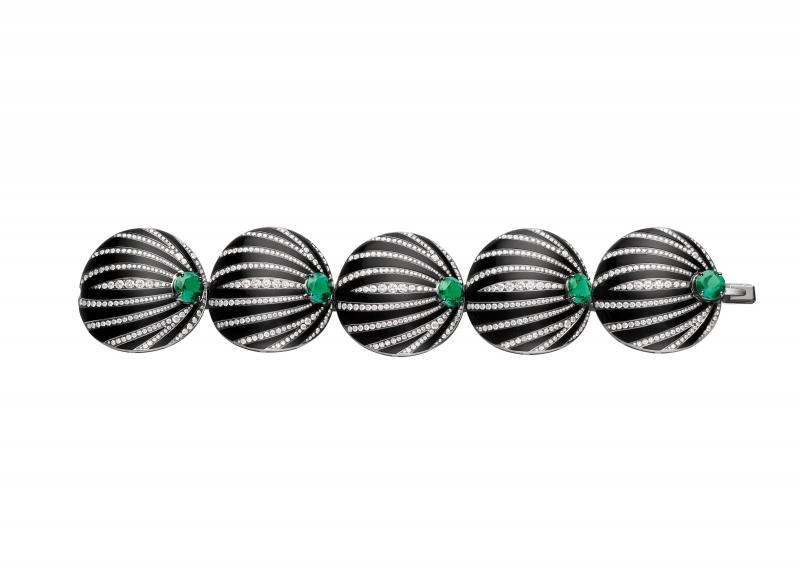 BVLGARI Wild Pop ROARING 80's系列 Pop Pleats 頂級鑽石、祖母綠與縞瑪瑙項鍊