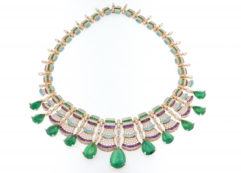 BVLGARI Wild Pop ROARING 80's系列 Precious Ruffles 頂級玫瑰金鑽石與祖母綠及彩寶項鍊