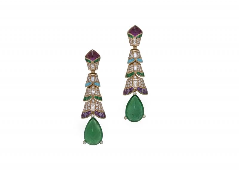 BVLGARI Wild Pop ROARING 80's系列 Precious Ruffles 頂級祖母綠與紫水晶耳環